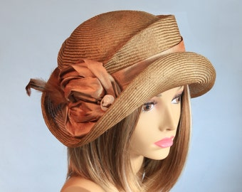 Kitty, beautiful straw hat from the Downton Abbey era, womens straw cloche hat, hat pin