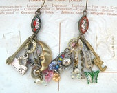micromosaic earrings random found object assemblage dangles charms ooak shabby chic