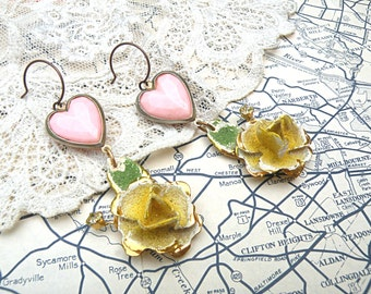 earrings pink heart flower assemblage shabby chic upcycle