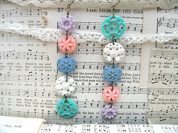 upcycle pierced button dangle earrings assemblage spring pastel habby chic ooak