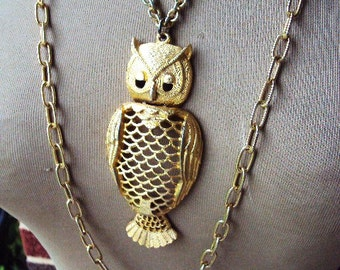 Vintage 70s Tancer II Articulated Owl Pendant Necklace Double Chain Bohemian Chic Hippie STyle