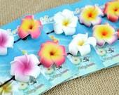 Flower Bobby Pins, Wholesale,  Plumeria Hair Pins, Dozen Pairs, Foam Flowers