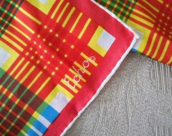 Vintage Accessory Scarf Japan Echo Plaid Silk Feel Hand Rolled Hem Long Scarf