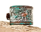 Leather Cuff Jewelry Hand Painted Leather Wristband Bracelet - Unique Leather Presents Etsy Finds - Women's Leather Cuffs