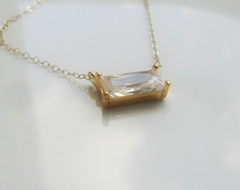 Solitaire Rectangle Gold Necklace / Cubic Zirconia / 14K gold chain / Geometric necklace / Layering jewelry / bridal / minimalist / under 40