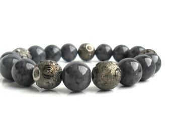 Gunmetal Blue Jade Bracelet / Stone Bracelet Stacks / yoga bracelet / Tribal Chic Elastic Beaded Bracelet stack / Arm candy  gift for her