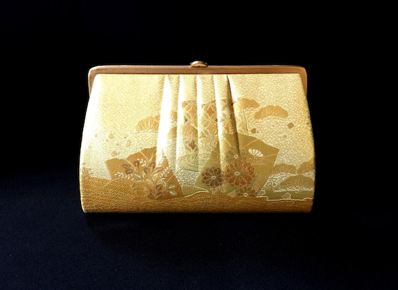 Vintage Japanese Kimono  Clutch - Vintage Clutch - Bridal Clutch - Gold Clutch - Bridal Purse - Japanese Clutch