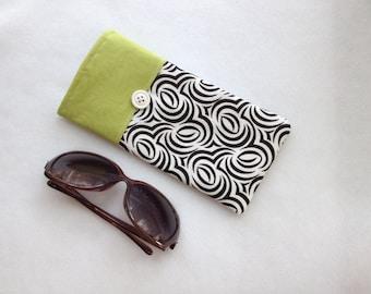 Sunglasses Case, large size glasses sleeve, black and white swirls cotton,  eyeglass cozy, soft case, gift for women
