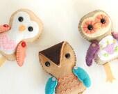 Felt Pattern - Owl Ornament Pattern - 3 Cute Owls PDF Sewing Pattern - Owl Felties Stuffed Toys