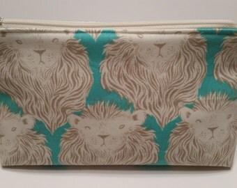 Cotton + Steel Lions Teal Aqua and Tan Zipper Pouch Makeup Cosmetic Bag Zip