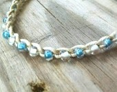 Glow in the dark Turquoise and White Anklet Size and Color choices