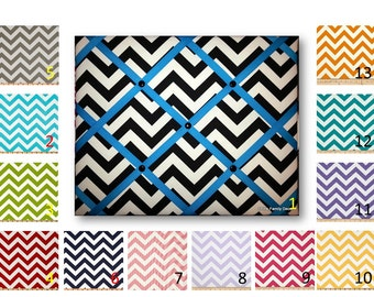Chevron Print French Memo Board  with Ribbon 20 x 24 -  Bulletin Board - Your choice of fabric and  ribbon colors