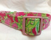 Lilly Pulitzer Fabric Dog Collar Hot Pink Green Flowers Girl