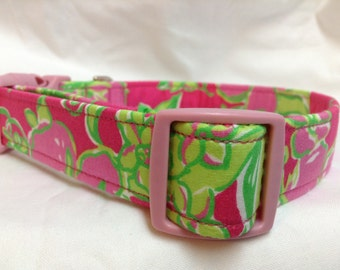 Lilly Pulitzer Fabric Dog Collar Hot Pink Green - LIMITED QUANTITY