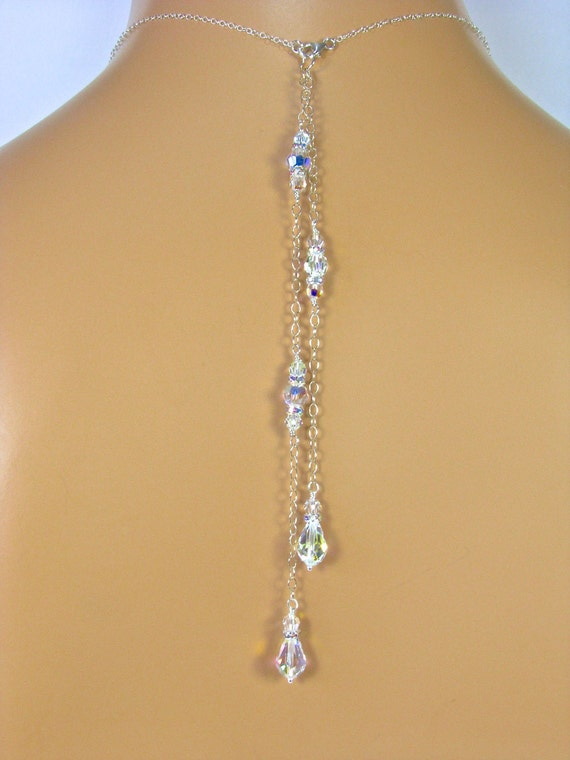 bridal jewelry drop back necklace attachment 2 strand 6