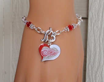 Detroit Red Wings Bracelet, Fire and Ice Crystal Pro Hockey Bracelet, Red Wings Hockey Bling, Ice Hockey Accessory Fanwear