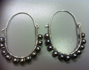 Sterling Silver Hammered Earrings with Blue/Grey Freshwater Pearls