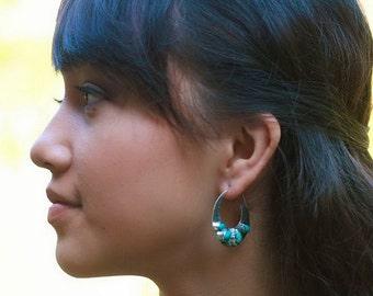 Sterling Silver hoop Turquoise Earrings / Bali handmade jewelry /  silver 925 / 1.50 inch
