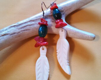 Spirit Medicine Earrings - Buffalo, Chrysocolla, and Coral Medicines