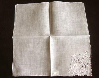 Handkerchief Hankie Napkin Linen Print Embroidered Flowers Monogrammed Pink G