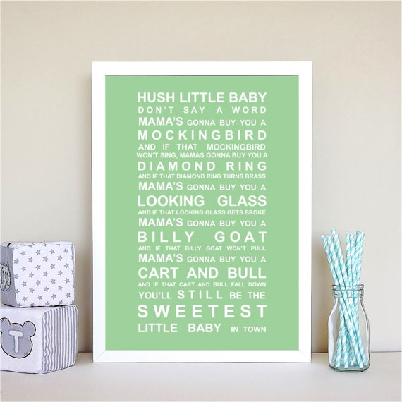 Hush Little baby - nursery rhyme print