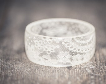 White Lace Resin Bangle Bracelet Vintage French Lace Wide Cuff OOAK wedding bridal eco friendly jewelry