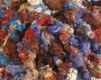Hand Spun Art Yarn, Suri Alpaca, Chunky, Textured Hand Spun, 36 Yards, Cornflower, Aster, Crabapple, Sandstone, Natural Brown, Beige, White