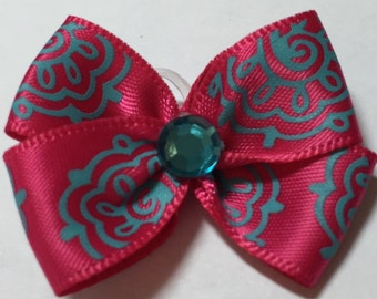 Hot Pink with Turquoise Pattern Dog Grooming Hair Bow with Turquoise Rhinestone Center