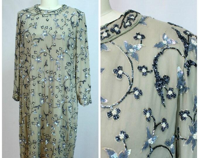 Vintage Designer Dress / Vintage Beaded Dress / André Laug Saks Fifth Avenue / Tunic Beaded Dress / 1980s Beaded Dress / 80s Designer