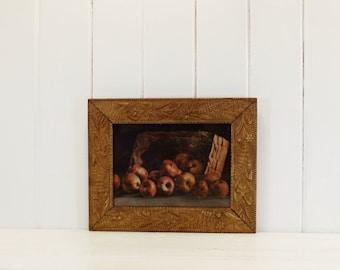 Vintage Print Apple Basket with Beautiful Gilt Frame