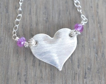 Sterling Silver Heart Necklace Sterling Silver Heart and Pink Sapphire Necklace Birthstone Jewelry Mothers Necklace Family Jewelry