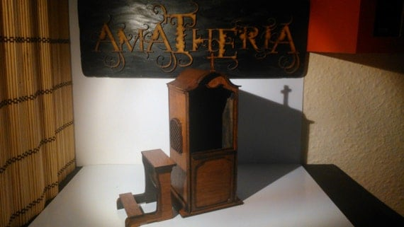 Religious furniture, christian confessional, 1/12 miniature for dollhouses and dioramas