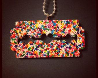 Large Rainbow Sprinkle Razorblade Necklace