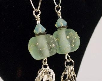 SRAJD Lampwork Earrings Sterling Silver -  Mint Green Aqua  Beaded Jewelry 'Spring Mist'
