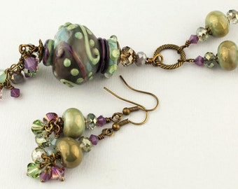 Lampwork Necklace and Earrings Set Long Antique Brass Chain  Beaded Jewelry Green Plum 'Garden Gate'