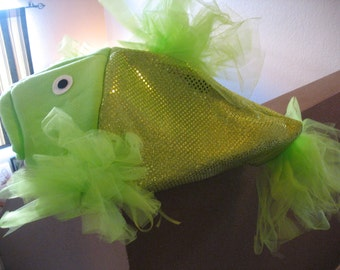 Lime Green Beta Fish costume-one size fits all