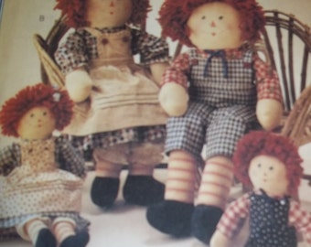 """sewing pattern Raggedy Ann Andy  20"""" 13"""" tall McCalls 8551 doll clothes apron overalls - dress - Sewing Pattern - uncut"""