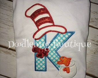 Dr. Seuss Cat in the Hat initial shirt