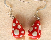 Spotted Toadstool earrings OOAK Polymer Clay FIMO Sculpey
