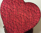 Valentine heart fascinator red satin and gold flecks with black lace overlay oversized candy box burlesque hat
