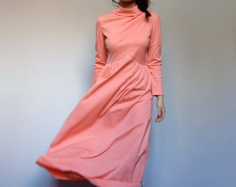 Maxi Dress Summer 70s Peach Long Sleeve Simple Floor Length Long Dress - Small S