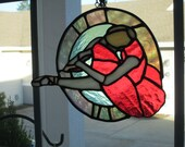 Hanging stained glass ballerina sun catcher