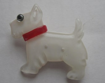 A Translucent White Scottie Dog Standing Lucite Pin / Brooch.