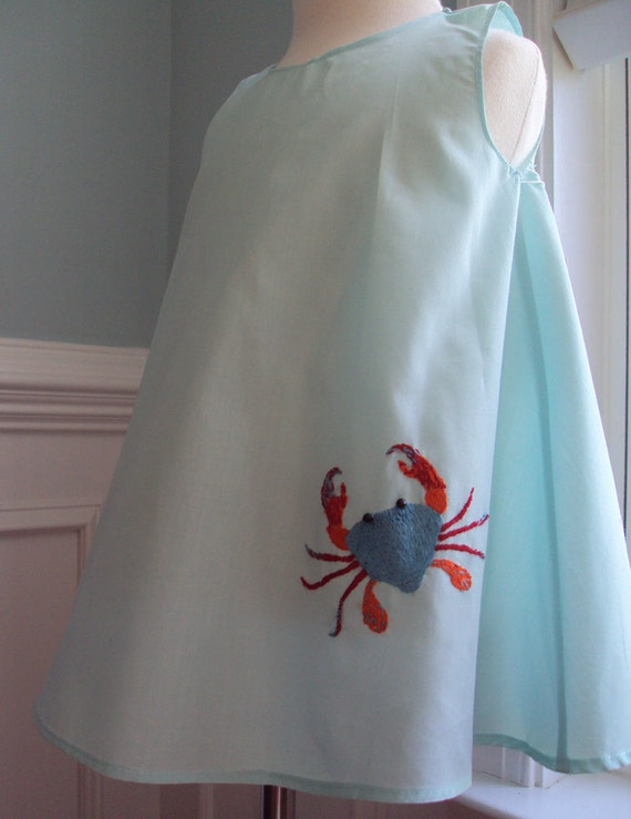 Aqua Hand Embroidered Crab dress  size 1