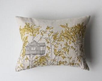 Linen Pillow Cover - Rectangle Yellow Tree Houses
