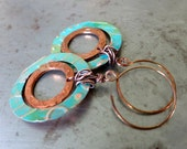 Spring Green Copper Hoops Earrings, artisan earrings, handcrafted
