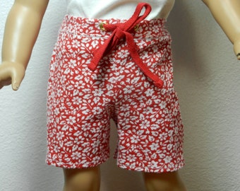 TC Red with White Flowers Print Shorts with Red Tie - 18 Inch Doll Clothes fits American Girl
