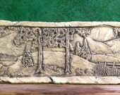 Country Scene Ceramic Pottery Porcelain Relief Tile