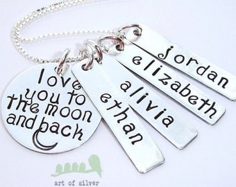 Love you to the moon and back - Hand stamped charm necklace - Personalized mother necklace- Kids name necklace - add up to 4 name tags