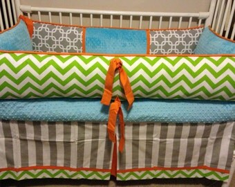 Baby bedding Crib set Lime chevron , turquoise, orange and gray  deposit Down payment only